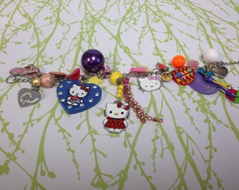 Vintage Kitty recycled upcycled Charm Bracelet
