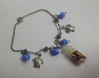 Seaturtle and Tiny Bottle of Shells Charm Bracelet 2