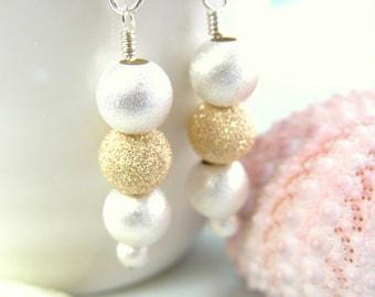 Triple Silver and Gold Round Dangle Earrings - Gold Silver Dangle Earrings - New Years Party Silver Gold Earrings - Snowy Christmas Earrings