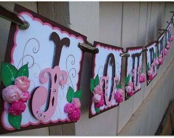 Handmade Banner - Custom made - GO GREEN - Name Banner Happy Birthday Baby Shower Bridal Shower