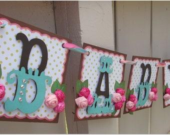 Handmade Banner - Custom made - GO GREEN - Name Banner Happy Birthday Baby Shower Bridal Shower Garden Flower Olive Polka Dot Banner