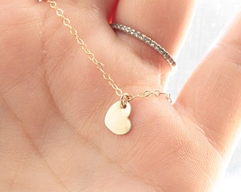 Tiny Heart Necklace, Gold Filled Necklace - 14k Gold Fill Tiny Heart Charm, Minimal Necklace, Everyday Simple Necklace