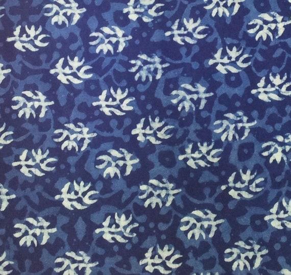 Batik Organic Cotton. Indigo fabric. Hand block printed. FT07312012-004