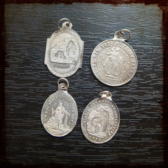 Antique set of 4 French Sterling Silver Religious Medals - Instant collection of rare vintage pendants