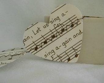 Vintage Music sheet  Paper Heart Garland