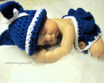 Baby Girl or Boy Kentucky Wildcats or BYU Cougars Inspired Hat and Diaper Set - Newborn - Reborn Doll Clothes - Paw - MADE to ORDER