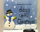 Christmas Countdown Dry Erase Ceramic Tile - Snowman - with Wood Base and Marker