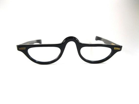 black half-moon eyeglasses. half spectacles. new old
