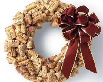 Wine Cork Wreath (with any color bow to match your decor)