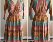 SALE: Vintage 80's Southwest style striped dress- Size 8/10