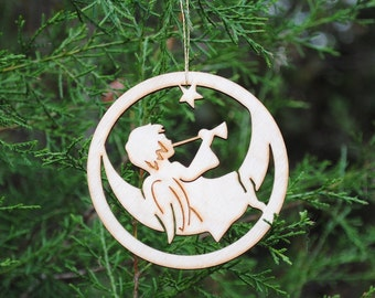 Natural Wood Trumpet Angel Ornament