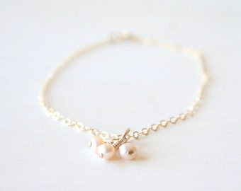Pink Pearl Cluster Bracelet - On 14K  Gold Filled Chain simple dainty jewelry
