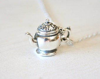 Openable Sterling Silver Teapot Necklace - Tea Lover Gift Idea