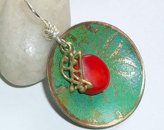 Patina Copper Charm Feng Shui Fish Pendant Red Coral earthegy