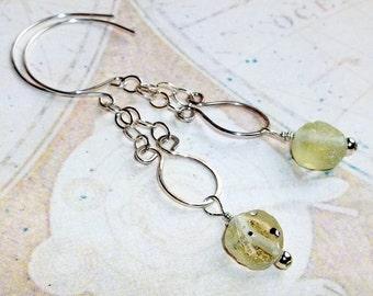 Green Ancient  Roman Glass Gemstone Earrings Sterling Silver Long Dangle earthegy