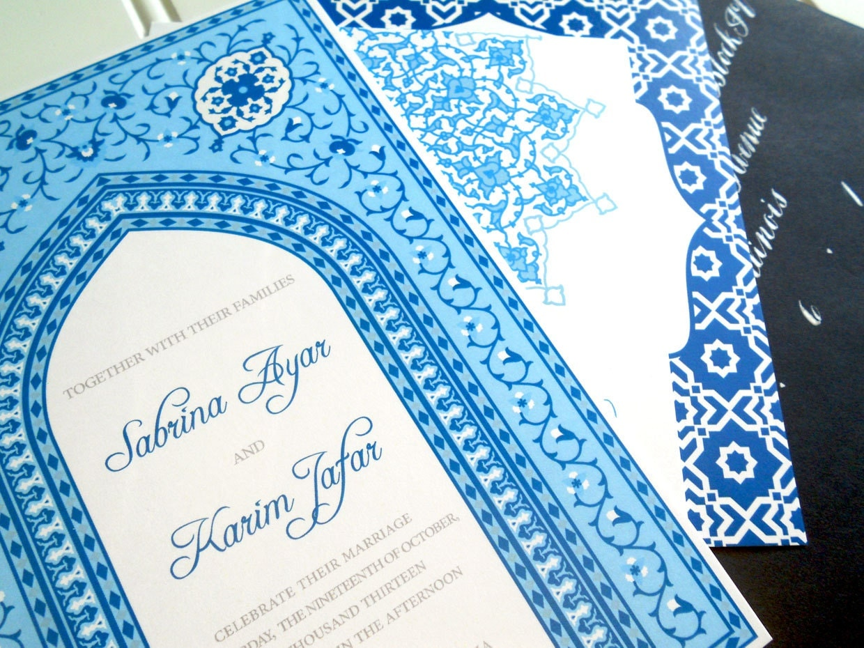 Wedding Invitations Blue Moroccan Collection