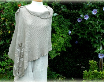 Natural Grey Poncho Knitted with Flower Linen Appliques Unique Eco Friendly Clothing