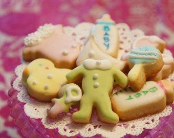 Tiny Baby Shower Cookies Set onesie  -duck - carriage - baby bottle - diaper - bib -bite size cookies-36 pieces