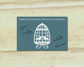 Save the Date Card - Lovebirds in a Bird Cage Silhouette