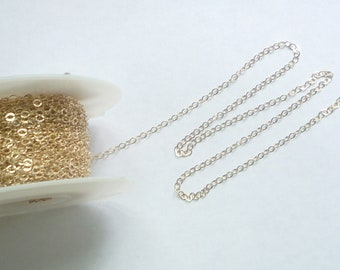 5FT (3x2mm)  14K Gold Filled   flat , shiny cable chain,