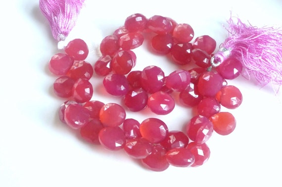 6pcs Hot Pink Chalcedony heart briolette , Fushia chalcedony faceted briolette (10-11mm), bridal jewelry