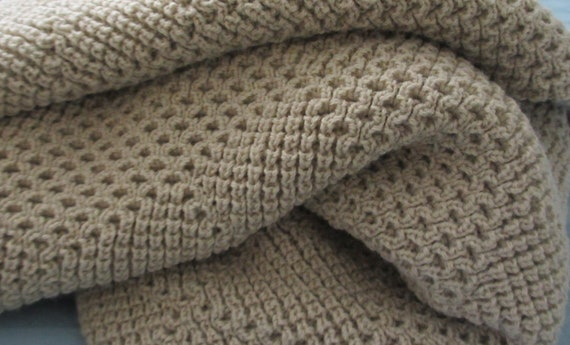 Knitted Afghan, Throw Blanket, Stone