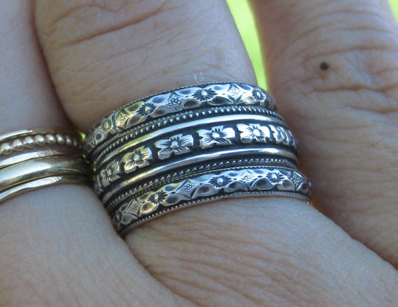 Floral Detailed Antique Look Stacking Rings Sterling Silver Set of 3 Bands Custom Made in Your Size