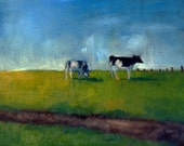 Two Cows 11x14 oil painting