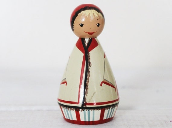SALE Vintage Wooden Doll Wood Woman Female Salvo Traditional red cream blue