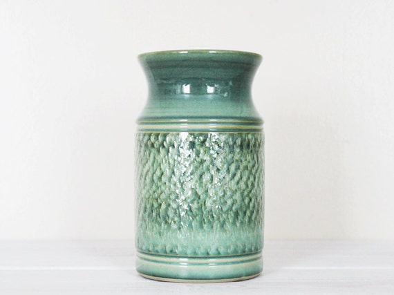 Vintage Green Vase Utensil Holder Pot Pottery Studio Denby Textured
