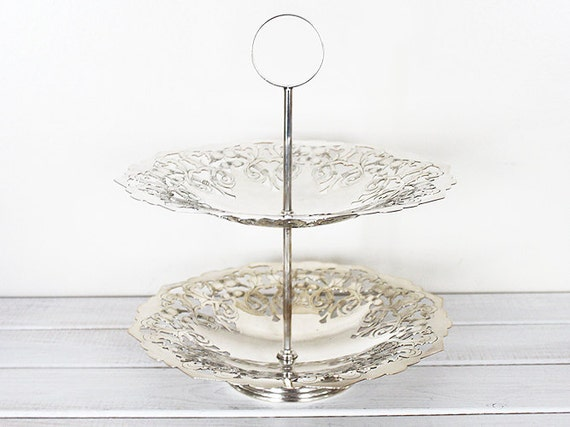 Vintage Silver plated Cake Stand 2 Two Tier  serving tray epns silver plate. handle pretty