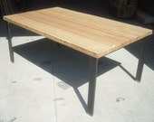 Reclaimed Bowling Alley Dining Table w/ Steel Legs