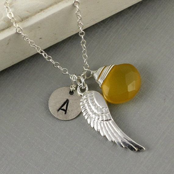 Personalized Angel Wing Necklace, Customize Handstamped Necklace, Initial, Birthstone, Wire Wrapped Gemstone, Bridesmaids Gift, Gift For He