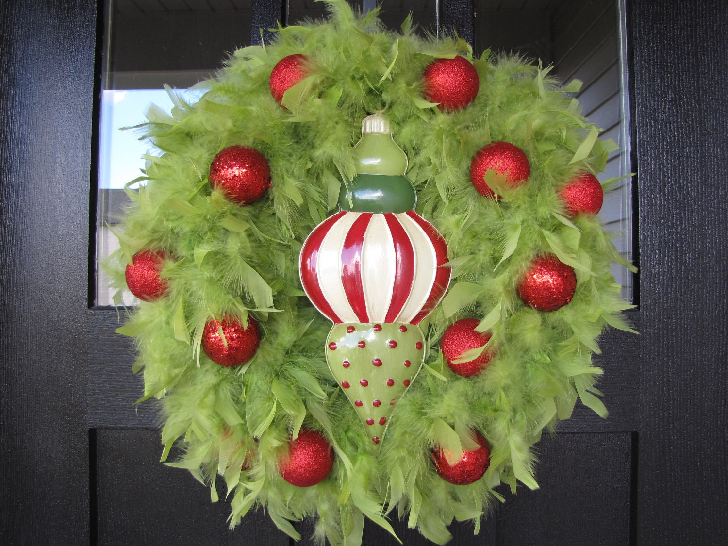 Christmas wreath lime green feather with red