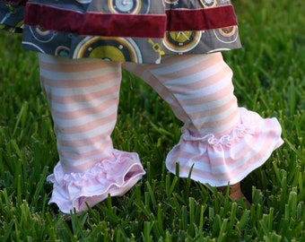 pink and white stripe knit leggings with double ruffles sizes 18m - 14 girls