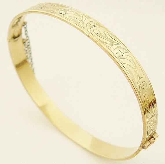 Vintage English bangle gold on sterling hand  engraved.