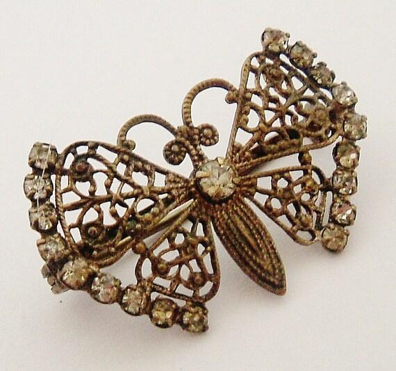 RESERVED for RANDI Tiny paste butterfly Czech silver plated brass filigree brooch.