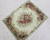 Miniature Rug for Dollhouse in Pale Green and Flowers 1:12 Scale