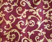 Crimson and Gold Medium Weight Home Decor Fabric by yard