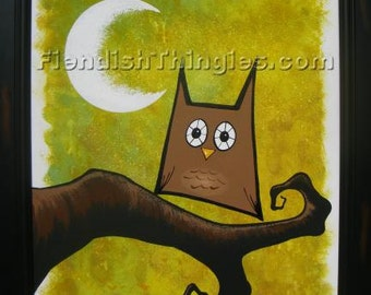 """Brown Owl original acrylic painting on 16"""" x 20"""" canvas by Owen Klaas green yellow brown owl branch moon"""