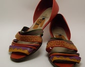 SALE--TRIBAL // GEOMETRIC // multi-colored // Red // Leather Sandals by Abstrax circa 1980s