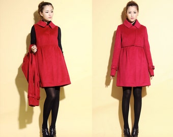 Babydoll Two Piece Suit Coat/  Wool Dress with High Waist Jacket/  17 Colors/ RAMIES