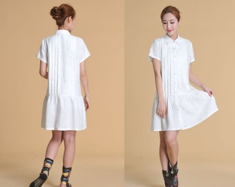 Full Pleated Linen Long Blouse with Short Sleeves / 27 Colors/ RAMIES