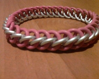 Breast Cancer Awareness Stretchy Chainmaille Bracelet