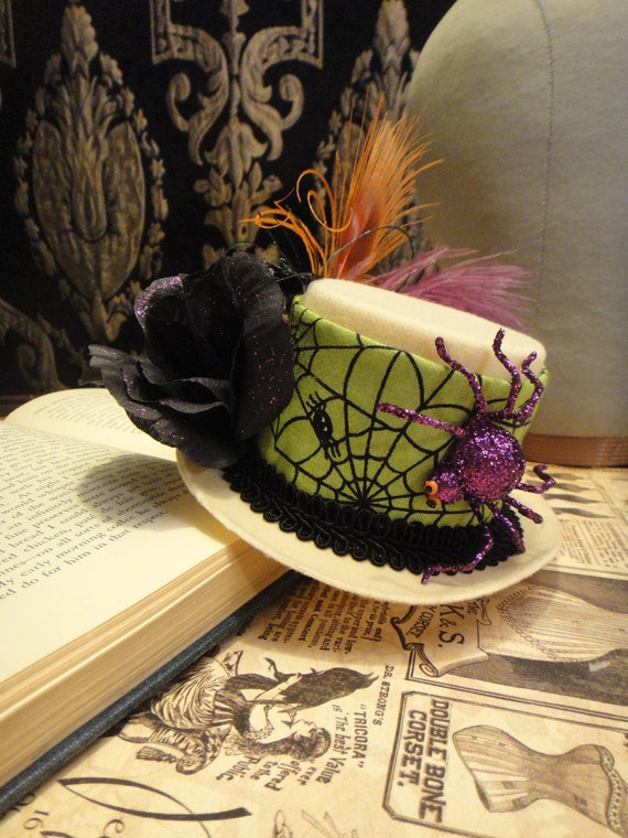 Halloween Goul Mini Top Hat - Orange Purple and Black Ostrich Peacock Feather Rose Crawling Spider - Fascinator