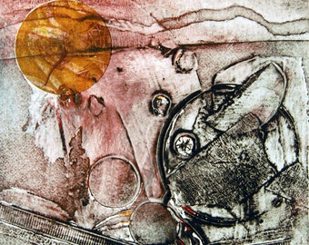 Calm Before the Storm, small, original abstract collograph monoprint with chine colle