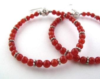 Quartz, orange beaded hoop earrings beaded jewelry