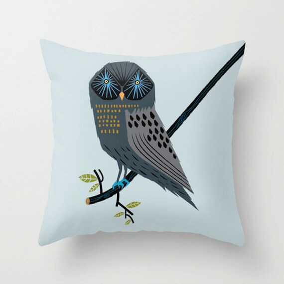 "The Perching Owl - Throw Pillow / Cushion Cover (16"" x 16"") iOTA iLLUSTRATION"