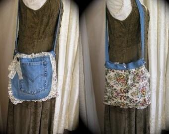 Upcycled Denim Bag, denim tapestry fabric bag, blue jean bag, denim shoulder bag, pockets SALE-price