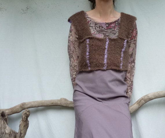 Chocolate Violet Bodice, hand knitted in brown and lilac mohair wool, one size fits all, READY TO SHIP
